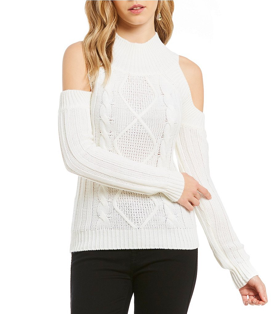 Elan Cold Shoulder Cable Knit Sweater