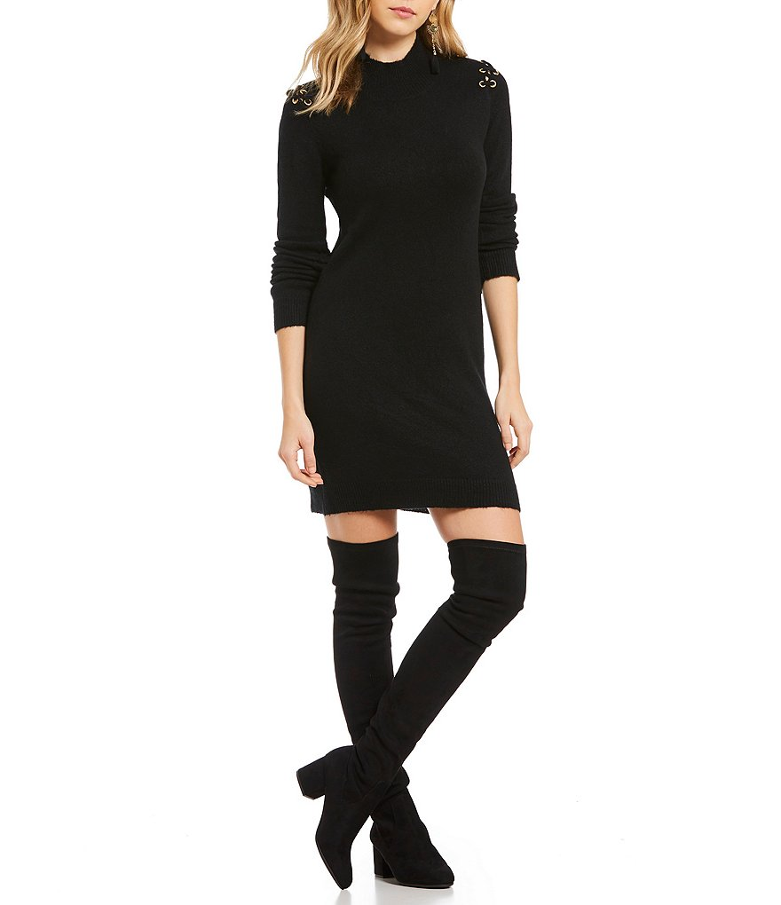Elan Eyelet Lace-Up Cold Shoulder Sweater Dress