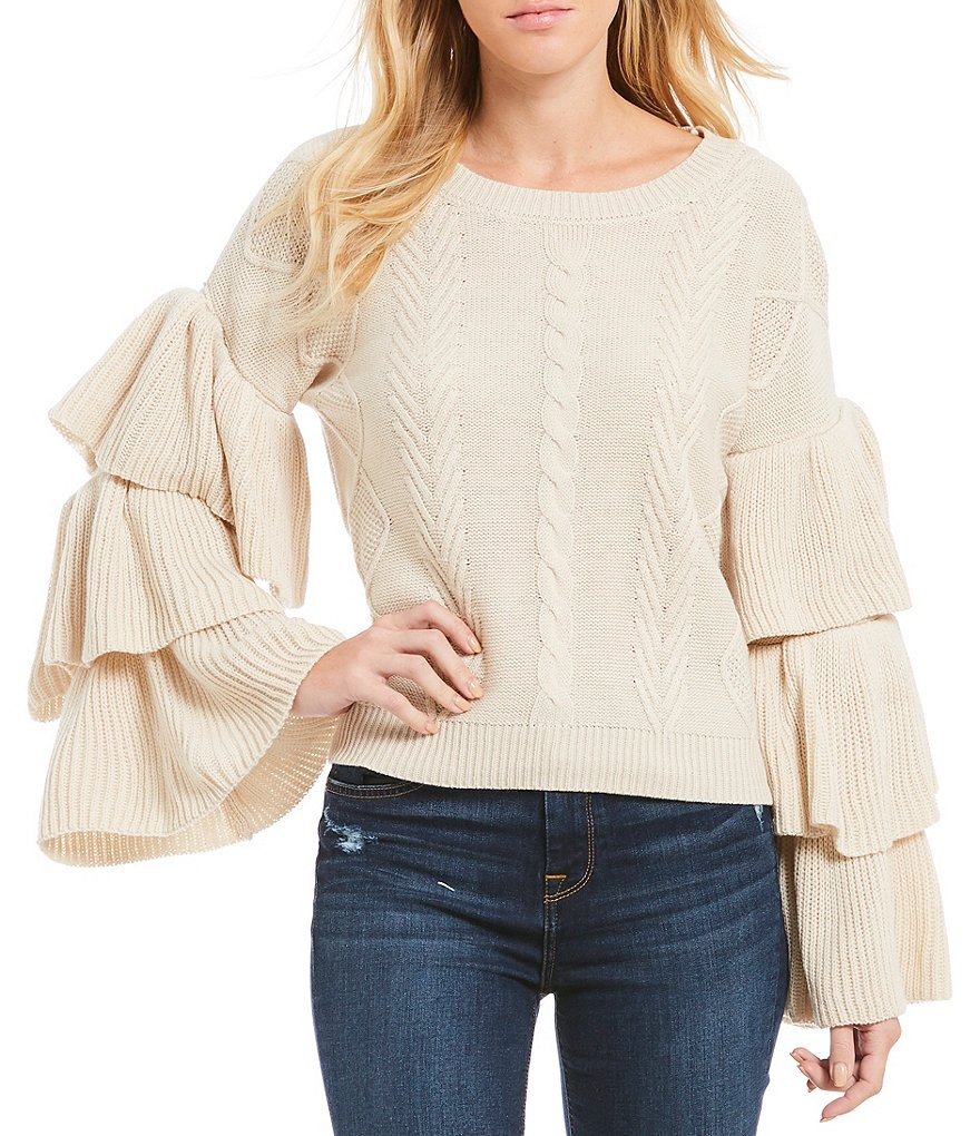 ELAN Tiered Ruffle Bell Sleeve Sweater