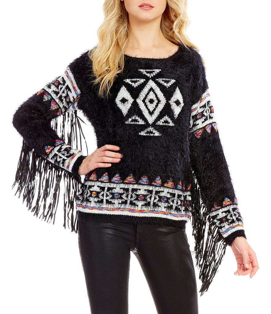 ELAN Boat Neck Long Sleeve Tribal Printed Fringe Sweater