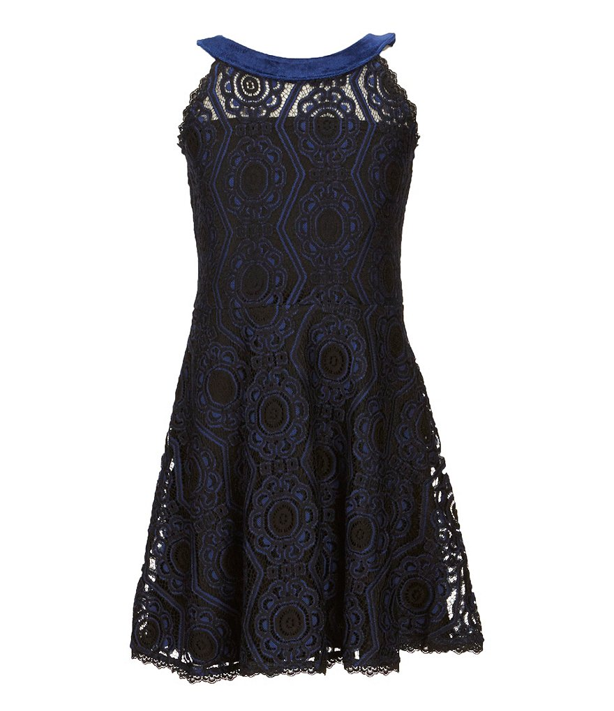Elisa B Big Girls 7-16 Embroidered Lace Fit-and-Flare Dress