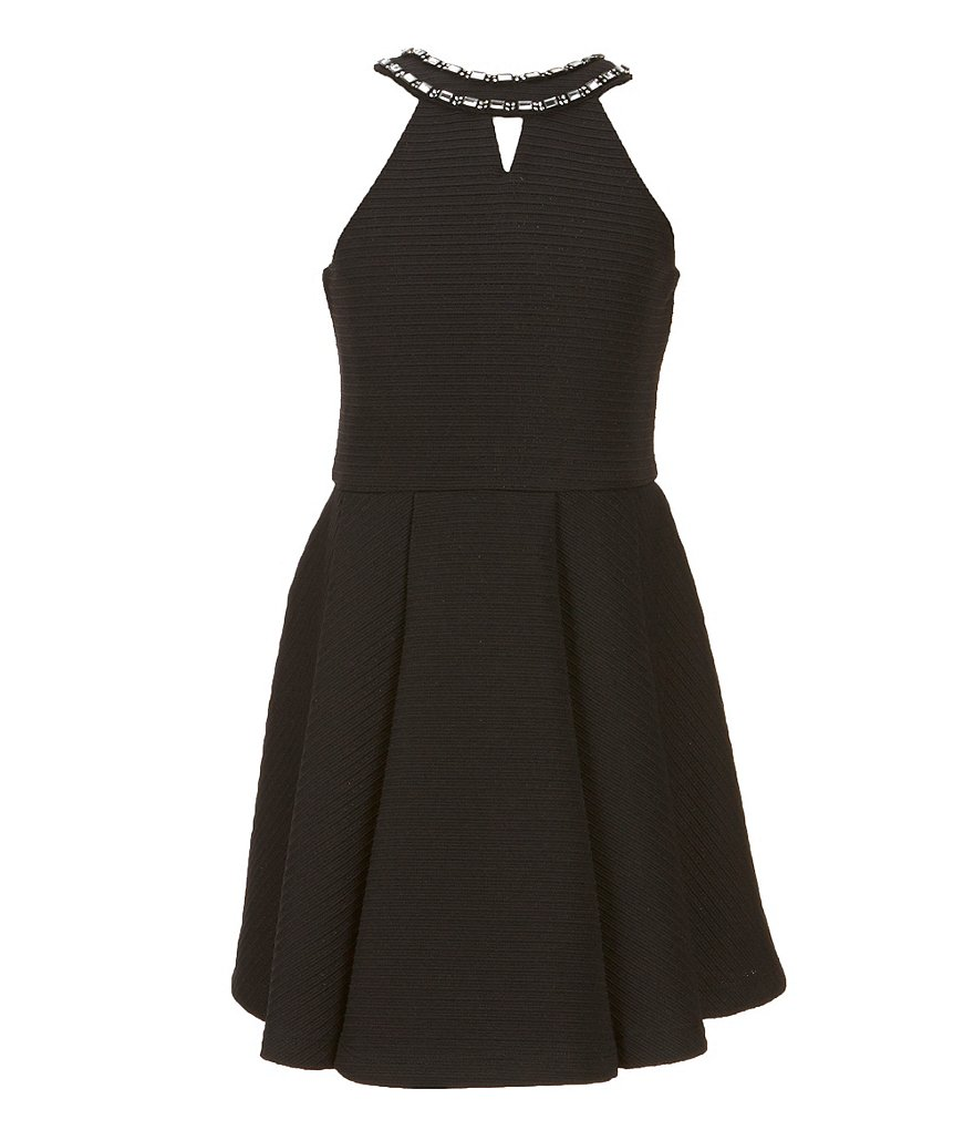 Elisa B Big Girls 7-16 Textured Knit Fit-and-Flare Dress