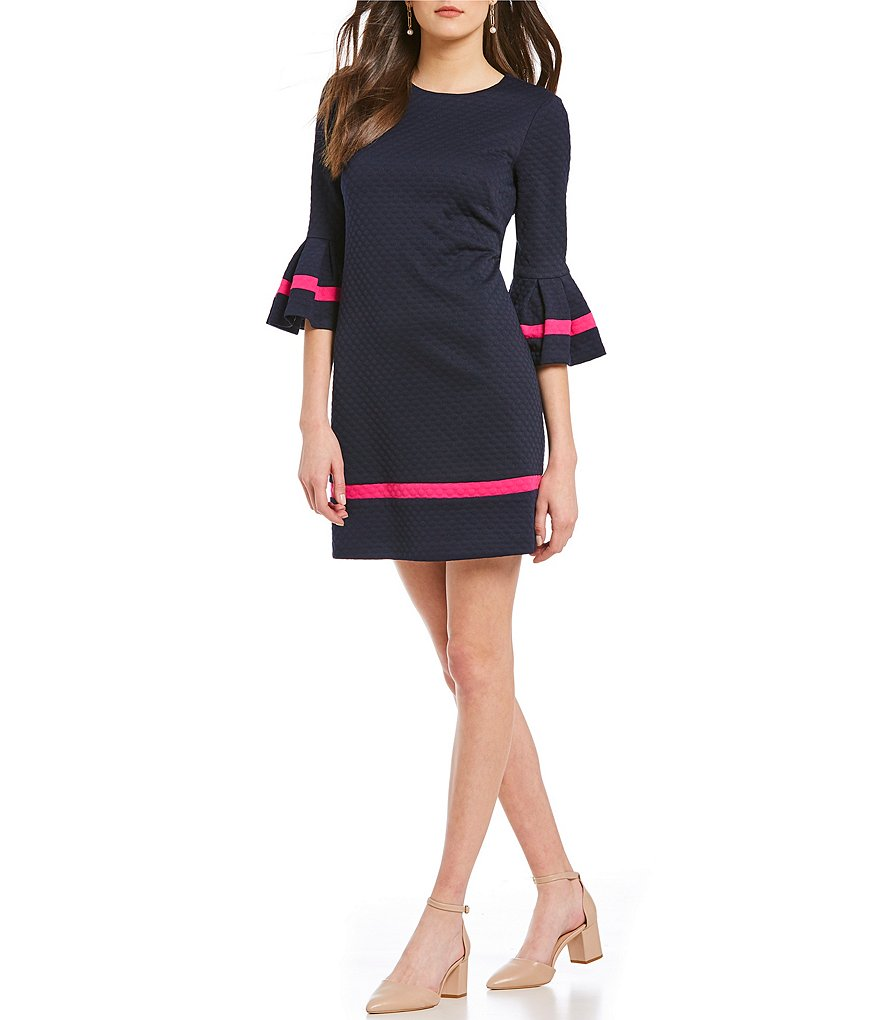 Eliza J Contrast Trim Bell Sleeve Dress