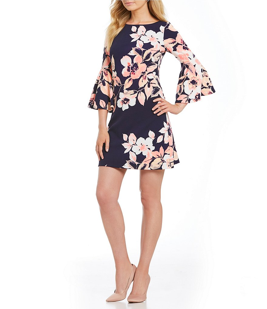 Eliza J Floral Bell Sleeve Dress