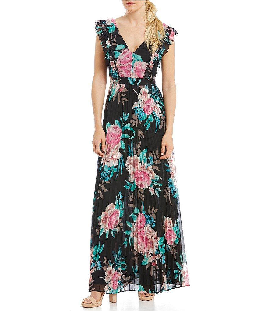 Eliza J Floral Pleated Skirt Maxi Dress | Dillards