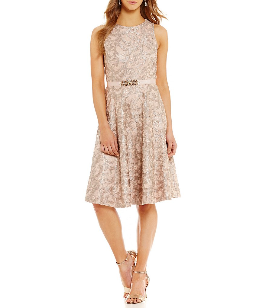 Eliza J Lace Fit and Flare Dress