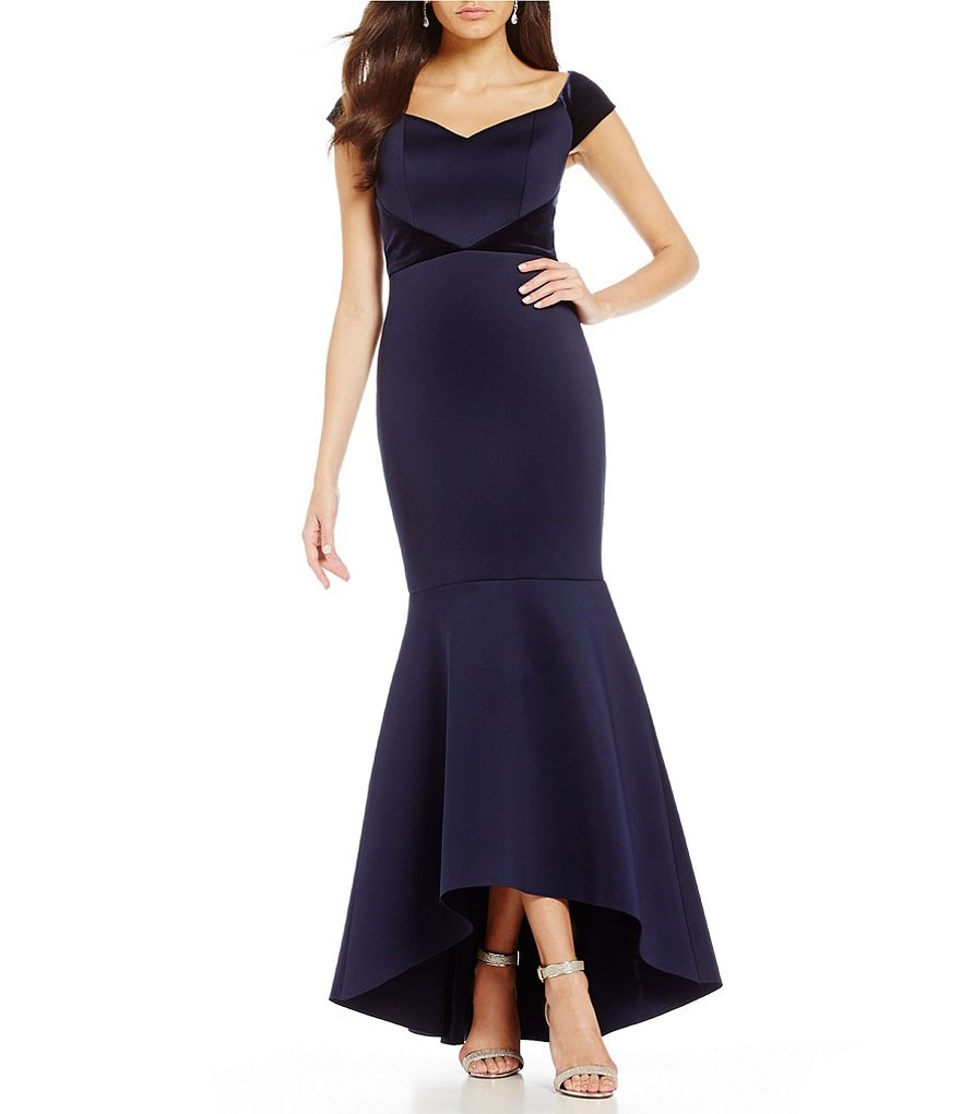 Eliza J Off the Shoulder Velvet Trim Gown