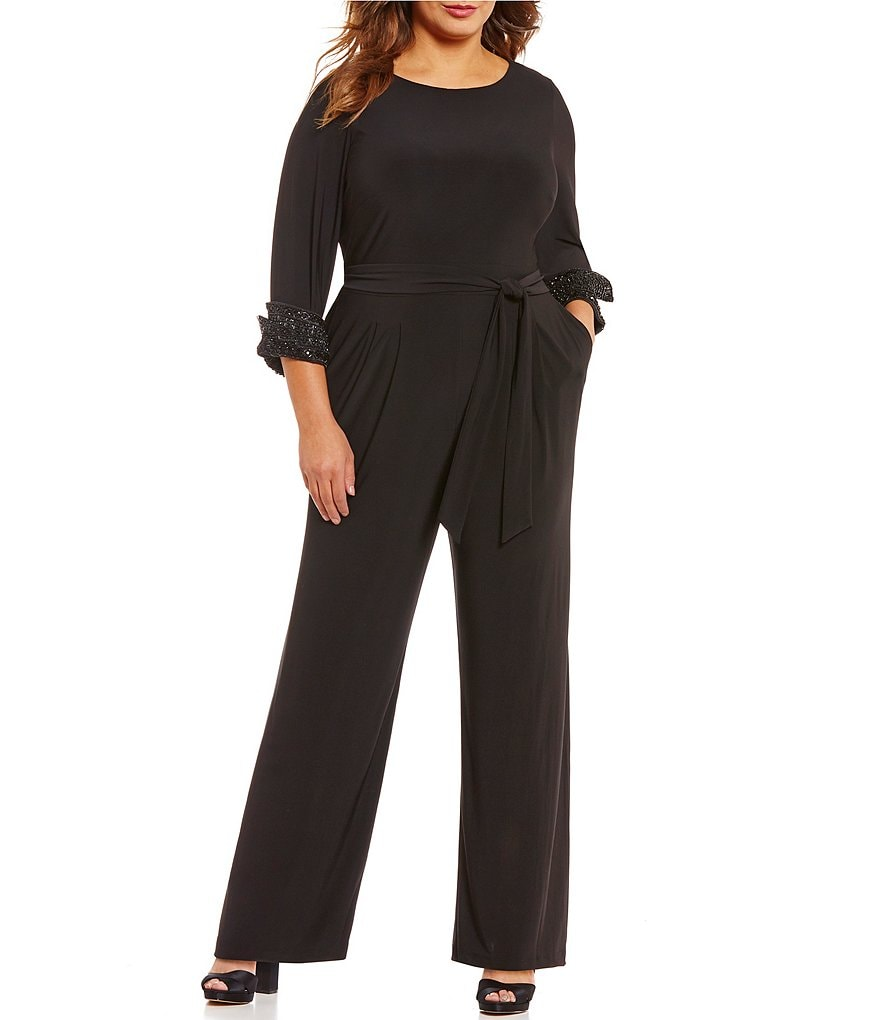 Eliza J Plus Beaded-Cuff Jumpsuit