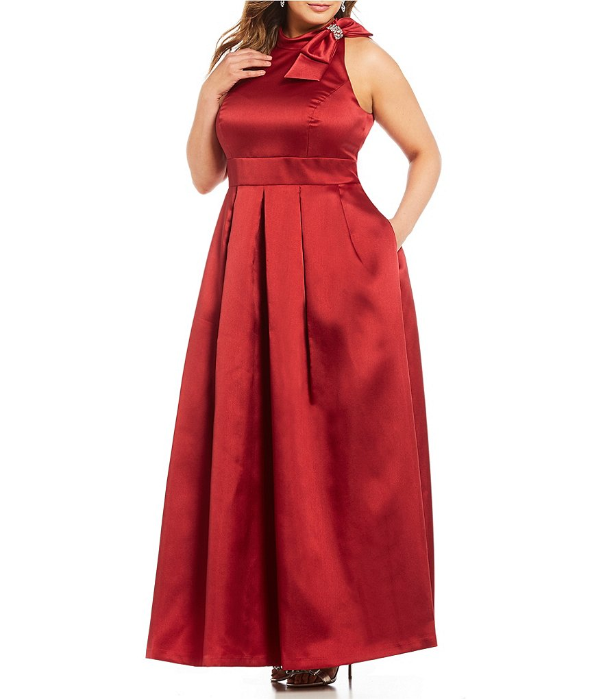 Eliza J Plus Bow-Neck Ballgown