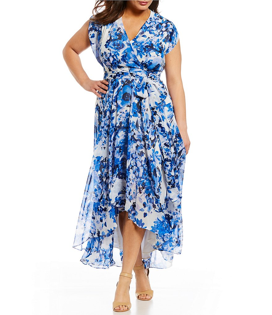 Eliza J Plus Floral Print Hi Low Wrap Style Maxi Dress