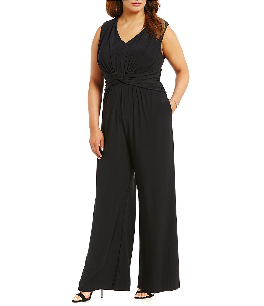 Eliza J Plus Sleeveless Knot-Waist Jumpsuit