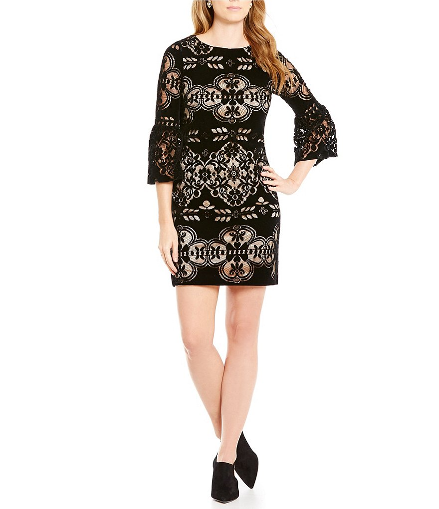 Eliza J Velvet Illusion Bell Sleeve Shift Dress