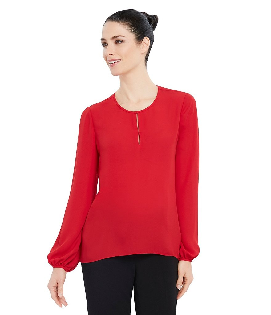 Ellen Tracy Bishop Sleeve Georgette Hi-Low Hem Blouse