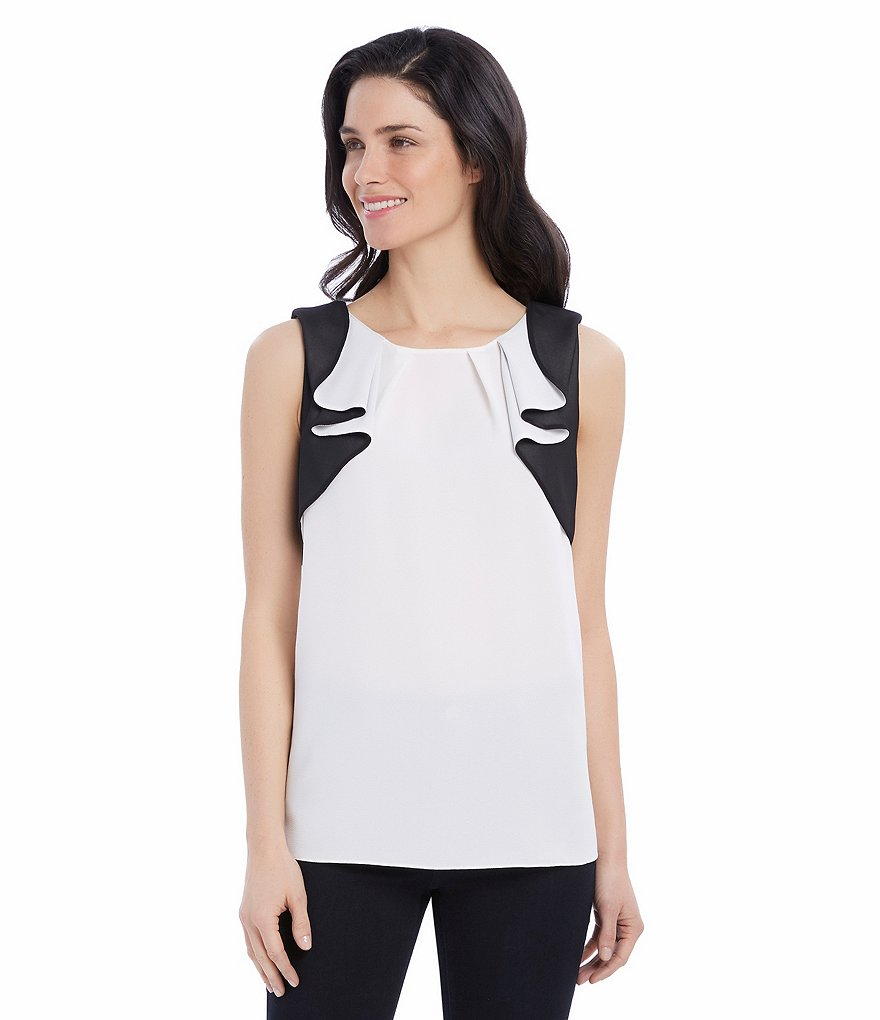 Ellen Tracy Sleeveless Contrast Flutter Side Cascade Georgette Top