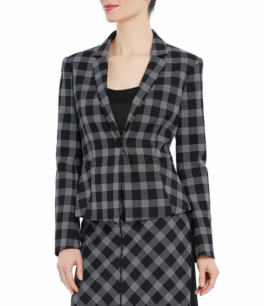 Ellen Tracy Windowpane Plaid Jacket