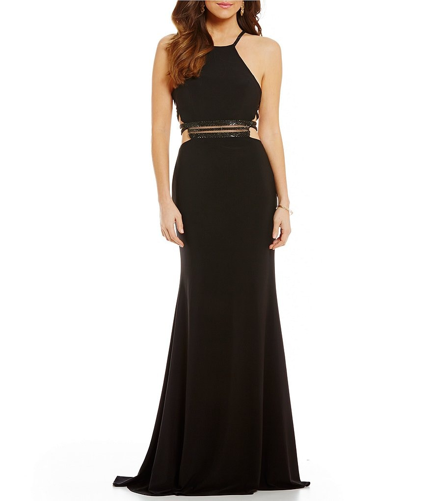 Ellie Wilde High Neck Beaded Illusion Waist Cage-Back Long Dress