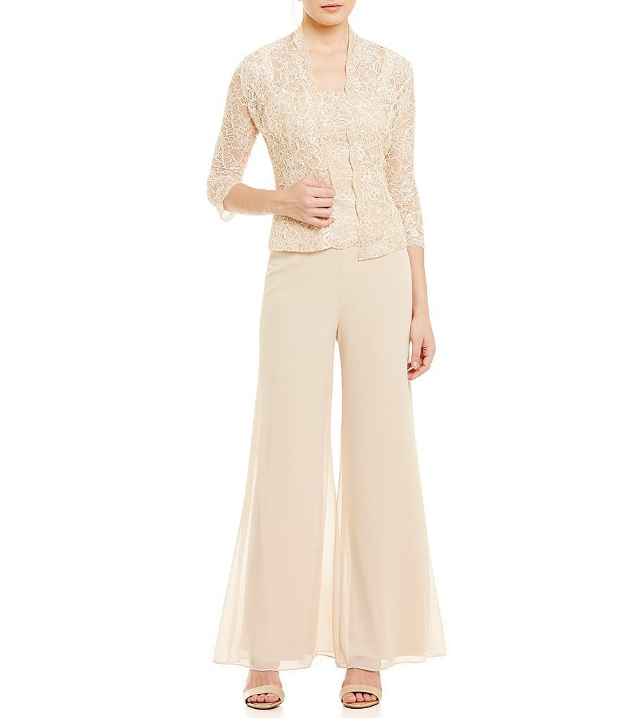 Emma Street Beaded Lace & Chiffon Pant Set