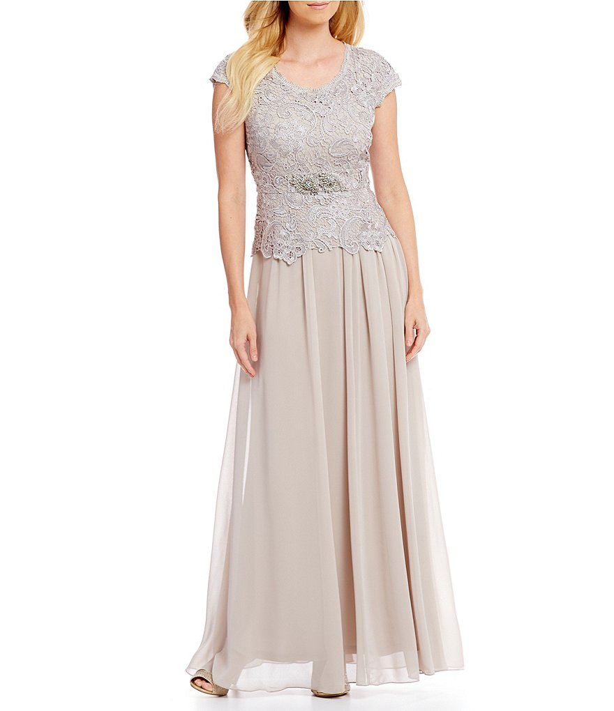 Emma Street Cap-Sleeve Lace Mock 2-Piece Gown
