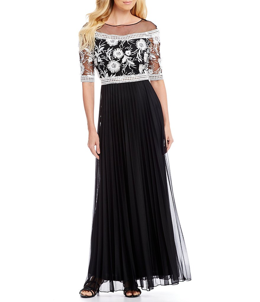 Emma Street Embroidered Illusion Gown