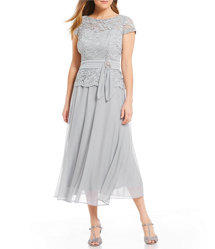 Emma Street Lace Bodice Mock 2-Piece Chiffon Dress