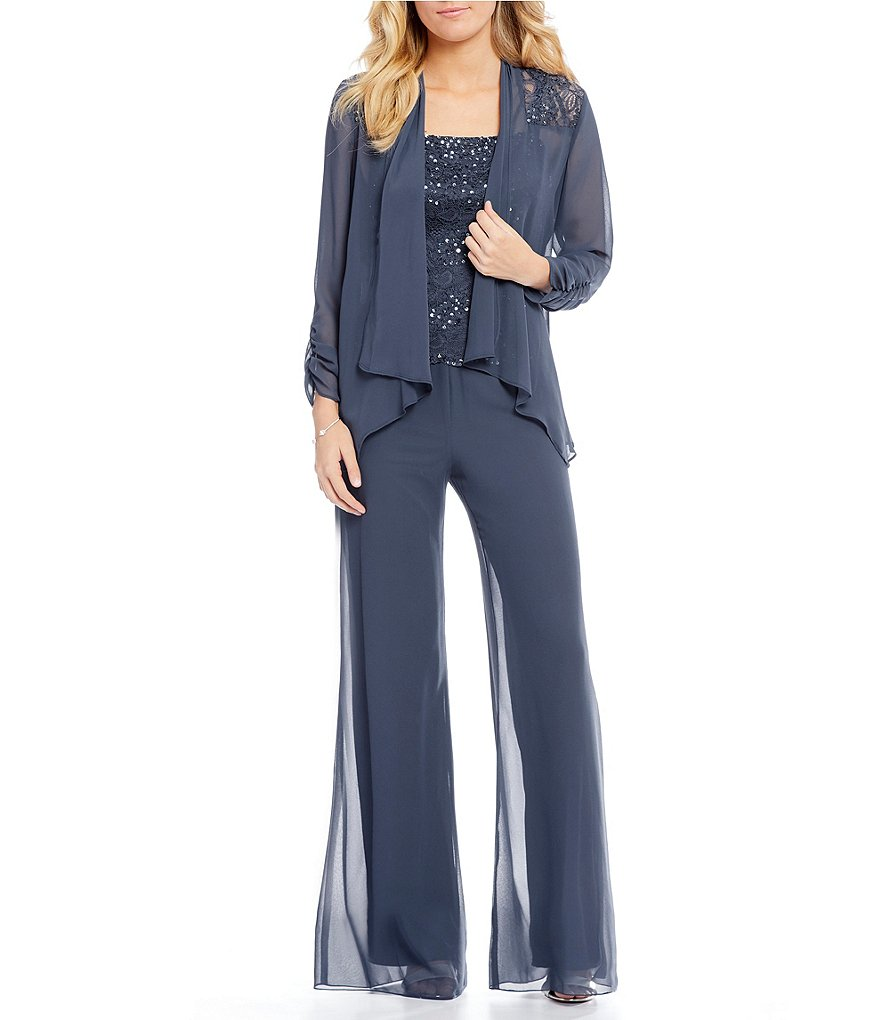 Emma Street Lace Chiffon Sequin 3 Piece Pant Set Dillards