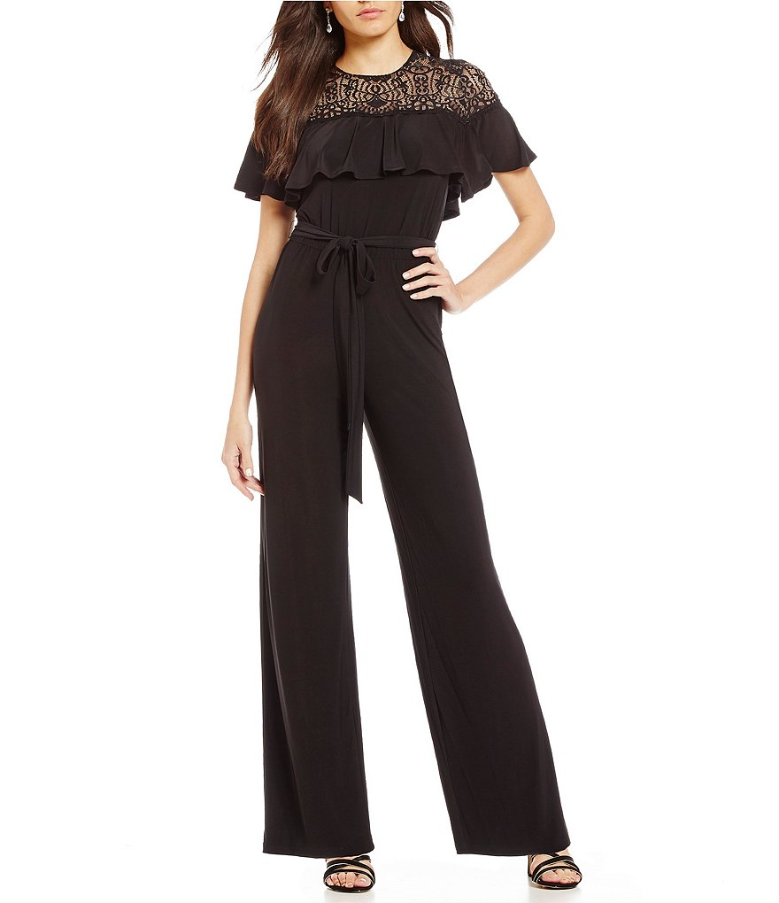 Emma Street Lace Illusion Belted Jumpsuit