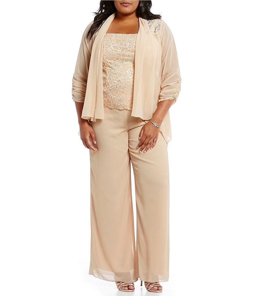 Emma Street Plus 3-Piece Lace Chiffon Pant Set