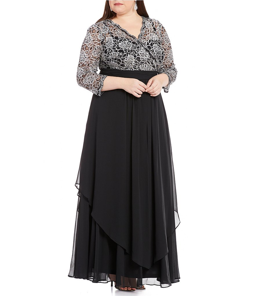Emma Street Plus 3/4-Sleeve Lace-Bodice Gown
