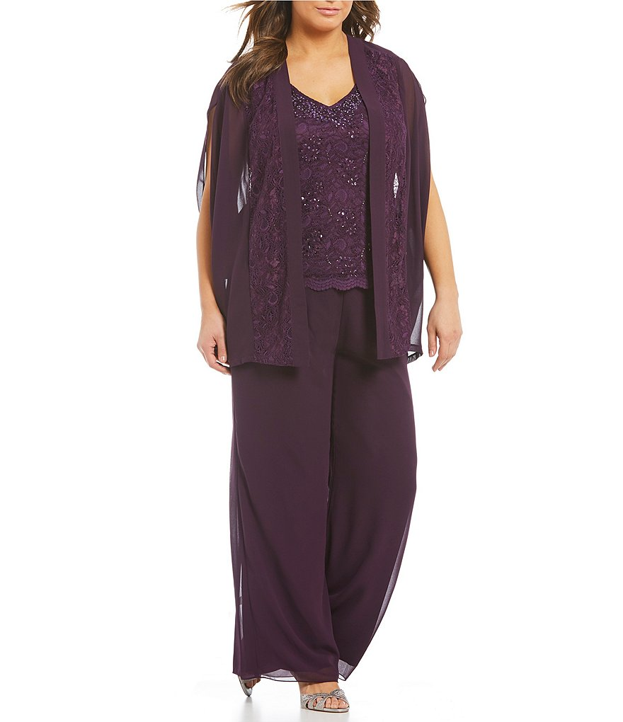 Emma Street Plus Beaded Lace 3-Piece Pant Set