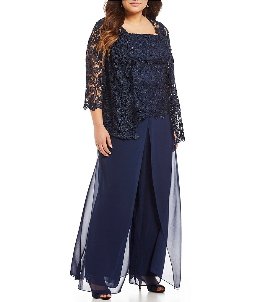 Emma Street Plus Lace Chiffon 3-Piece Pant Set