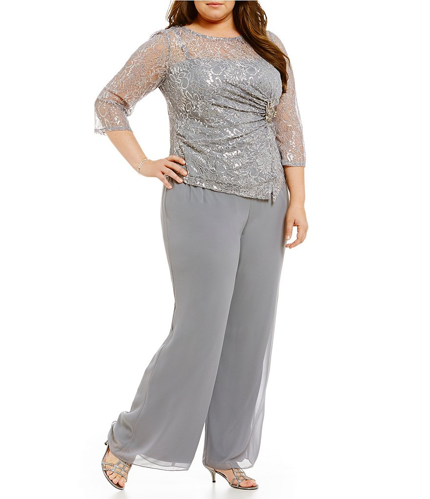 Emma Street Plus Metallic Lace 2-Piece Pant Set