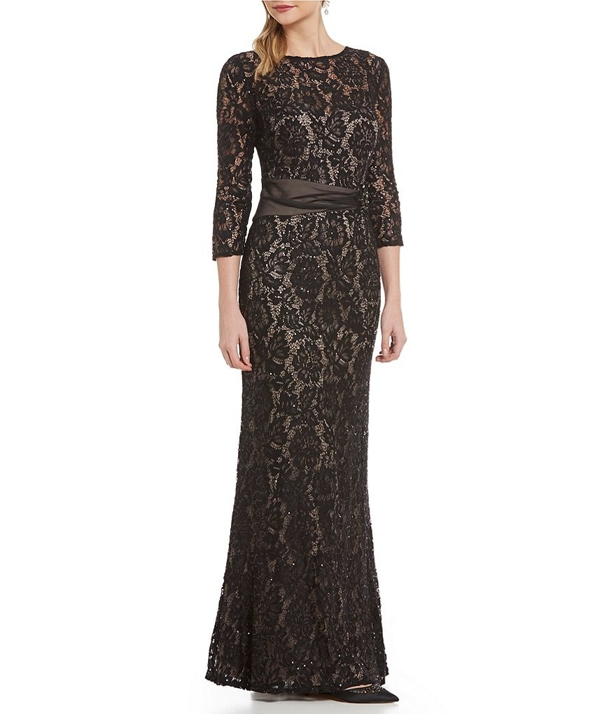Emma Street Round Neck Embellished-Trim Lace Gown