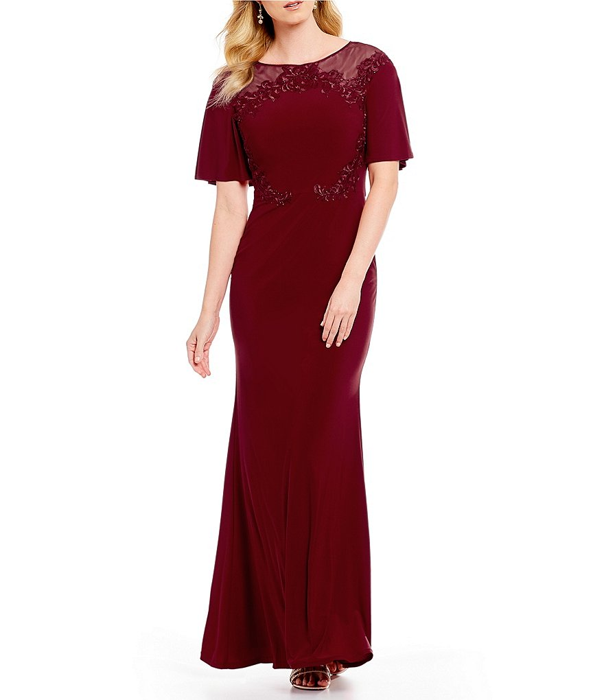 Emma Street Short Bell Sleeve Embroidered Gown