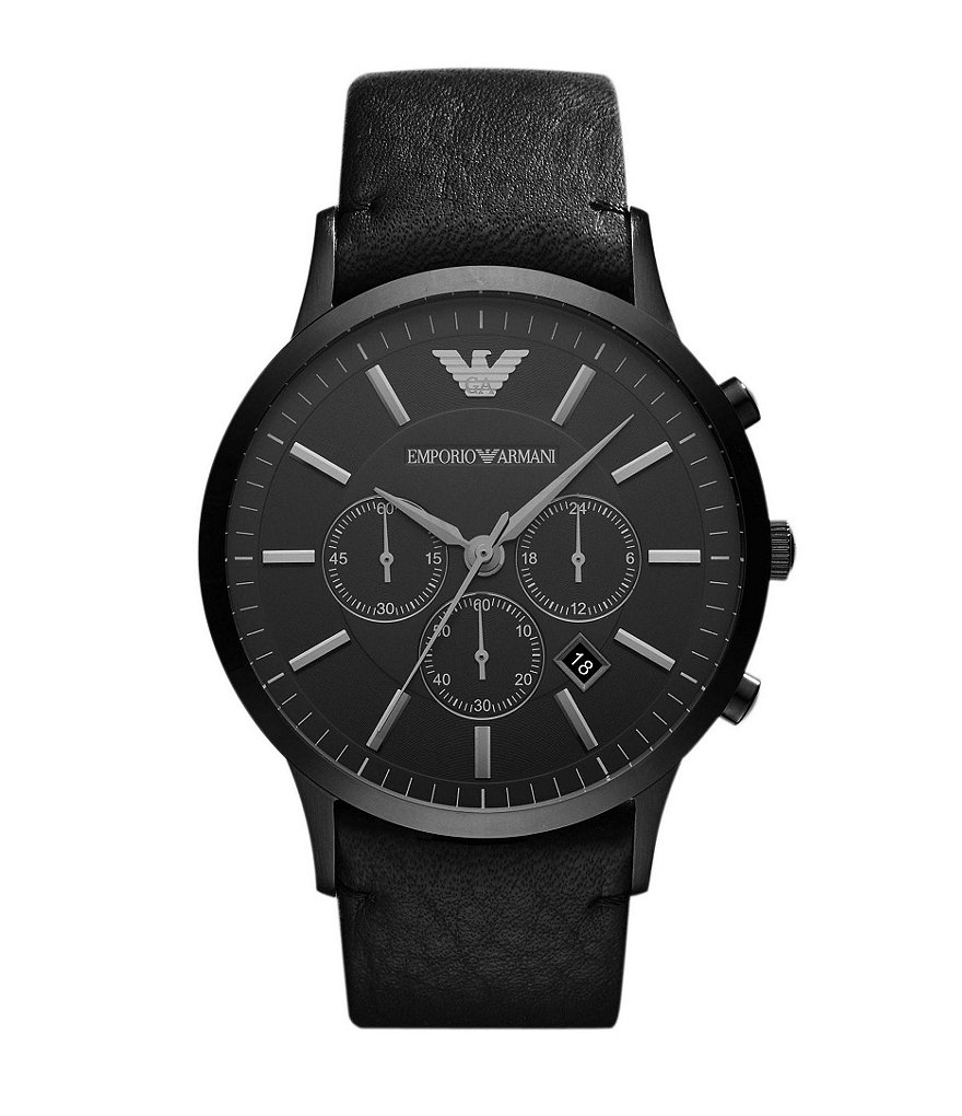 Emporio Armani Classic Men´s Black-Out Leather Strap Stainless Steel Chronograph Watch