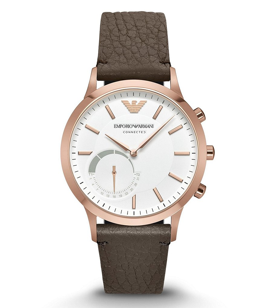 Emporio Armani Connected Leather-Strap Hybrid Smart Watch