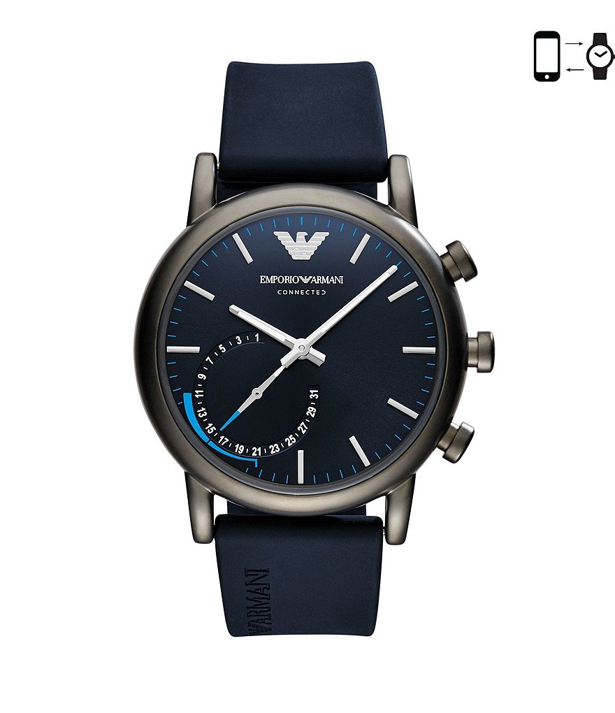 Emporio Armani Connected Rubber-Strap Hybrid Smart Watch