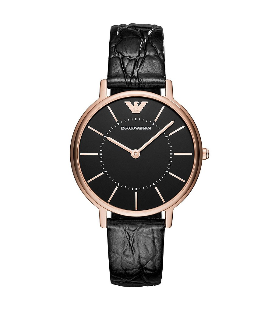 Emporio Armani Ladies Two-Hand Black Leather Analog Watch