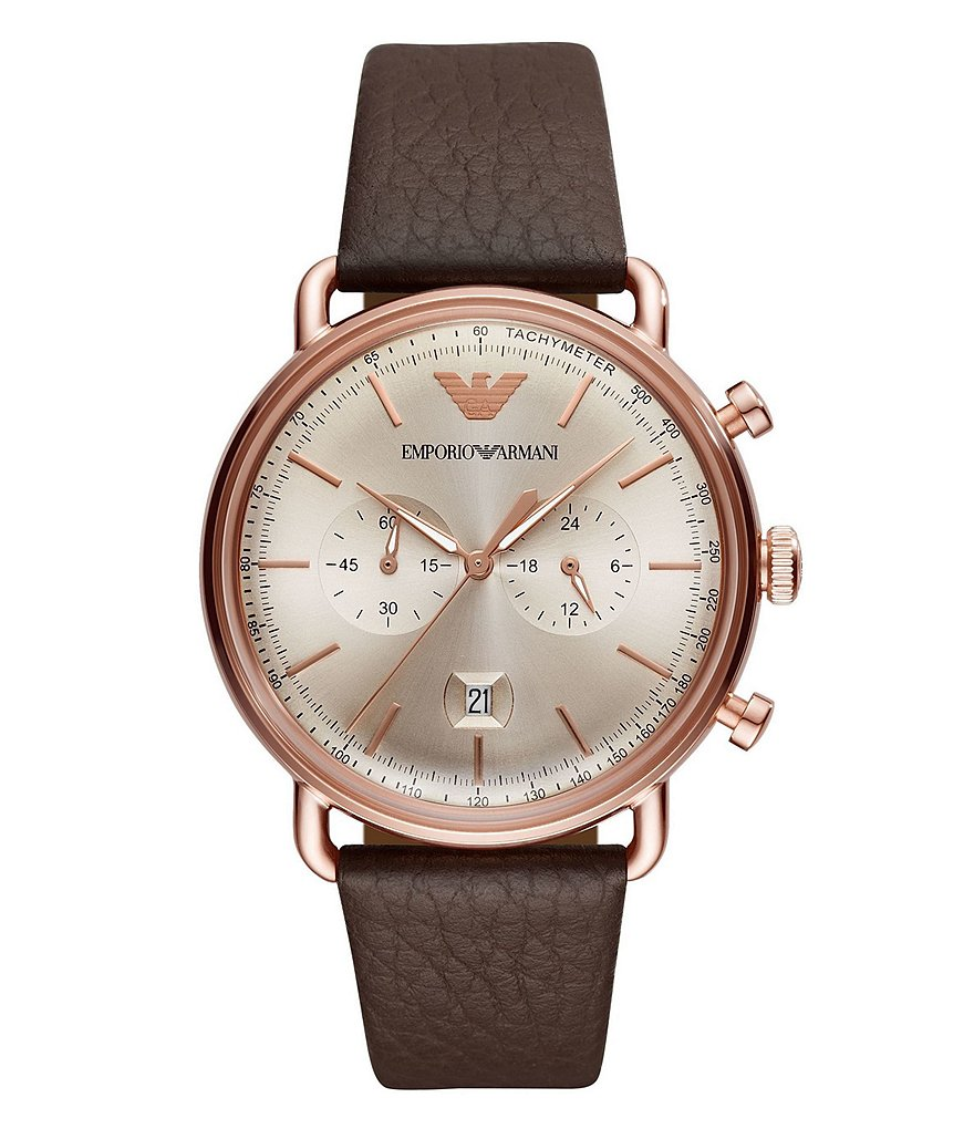 Emporio Armani Men's Brown Leather Chronograph Watch