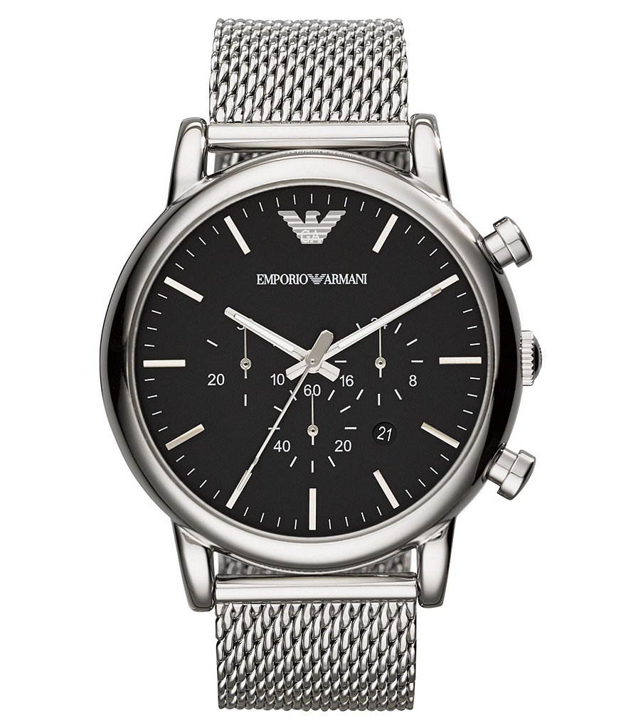 Emporio Armani Men´s Classic Black Dial Stainless Steel Mesh Bracelet Chronograph Watch