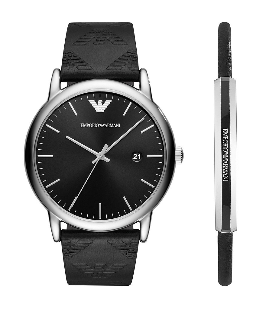 Emporio Armani Men's Stainless Steel Black Leather Strap Watch Gift Set
