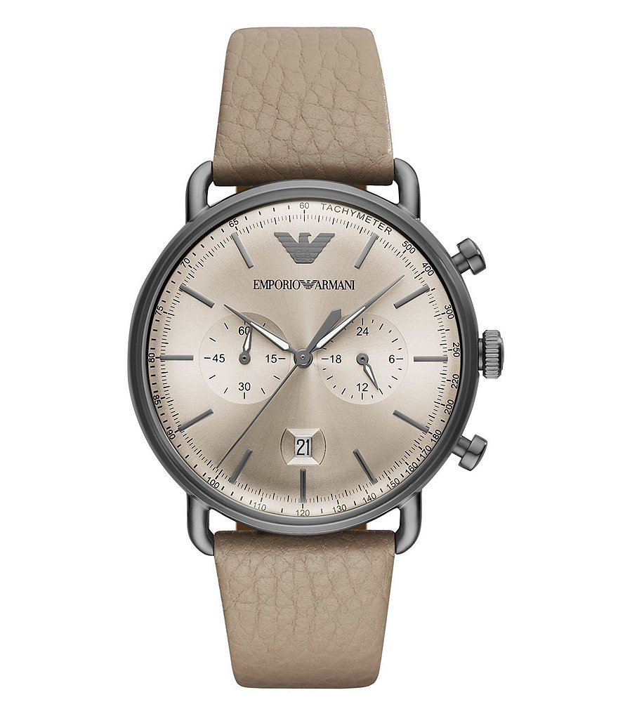 Emporio Armani Taupe Leather Aviator Men's Dress Watch
