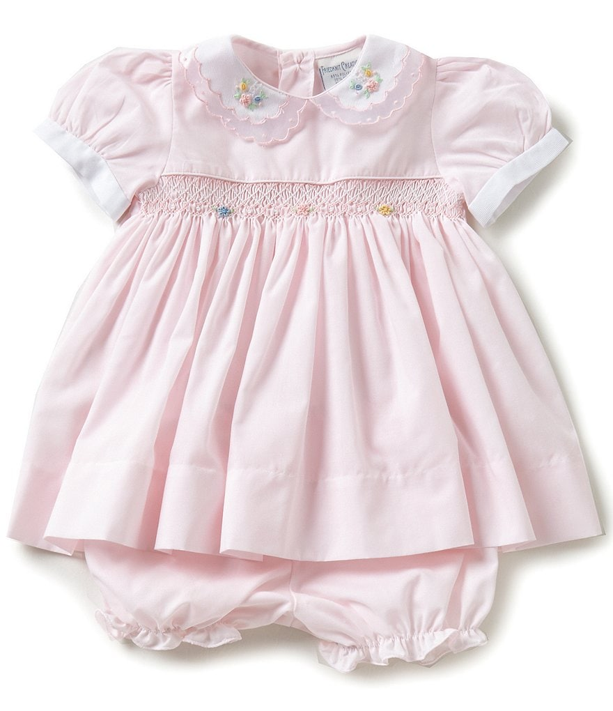 Friedknit Creations Baby Girls 3-9 Months Floral Embroidered Smocked Dress