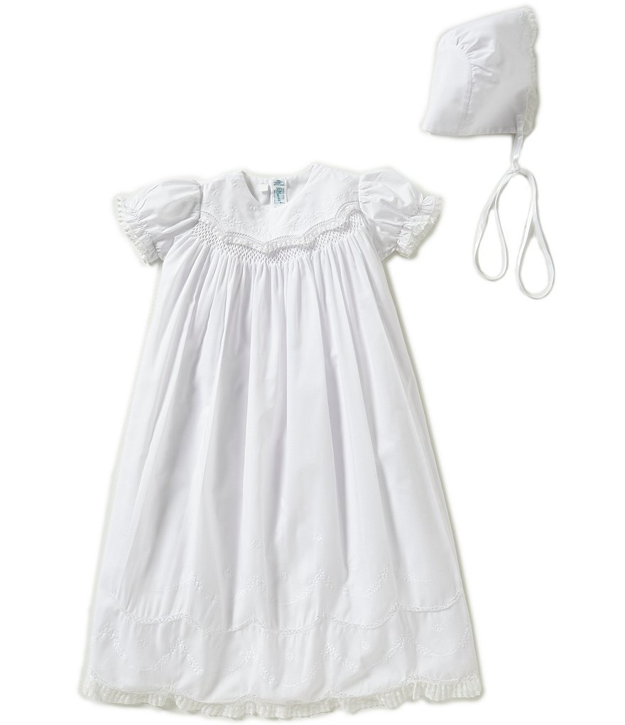 Feltman Brothers Baby Girls Newborn Lace-Detailed Smocked ...