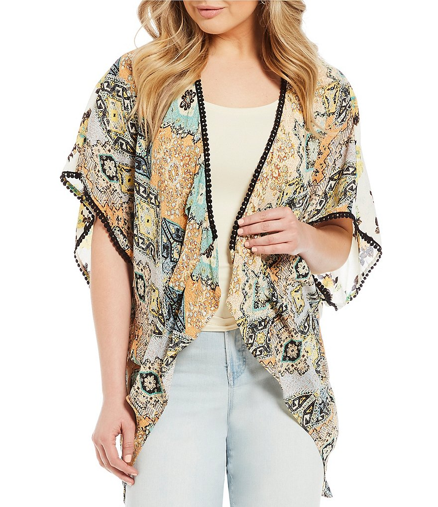 Figueroa & Flower Betty Pom Pom Lace Trim Kimono