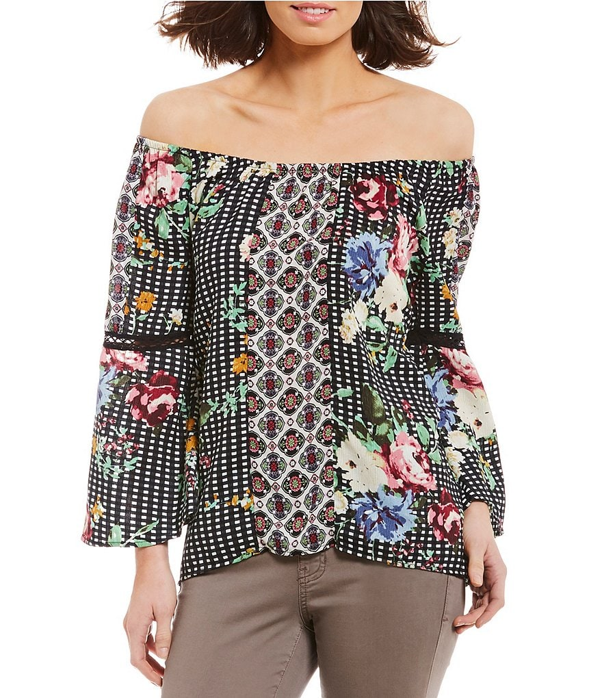 Figueroa & Flower Charlene Floral Mixed Print 3/4 Sleeve Top