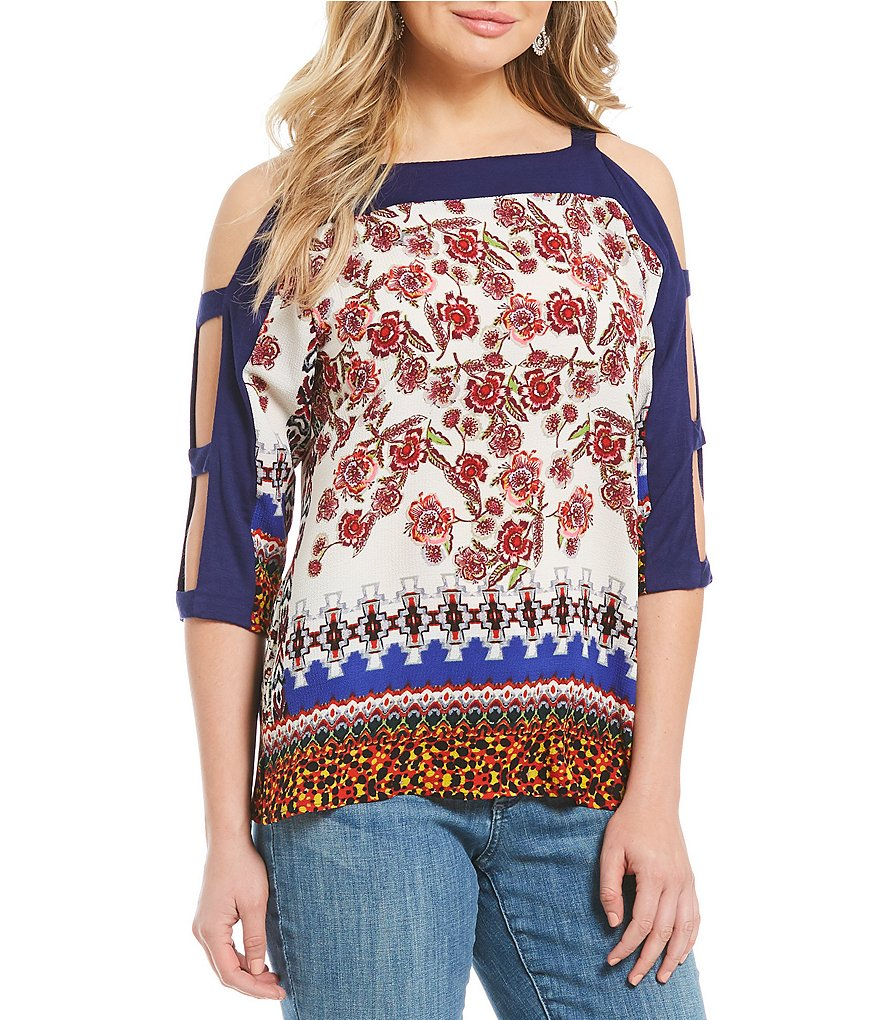 Figueroa & Flower Lena 3/4 Lattice Sleeve Top