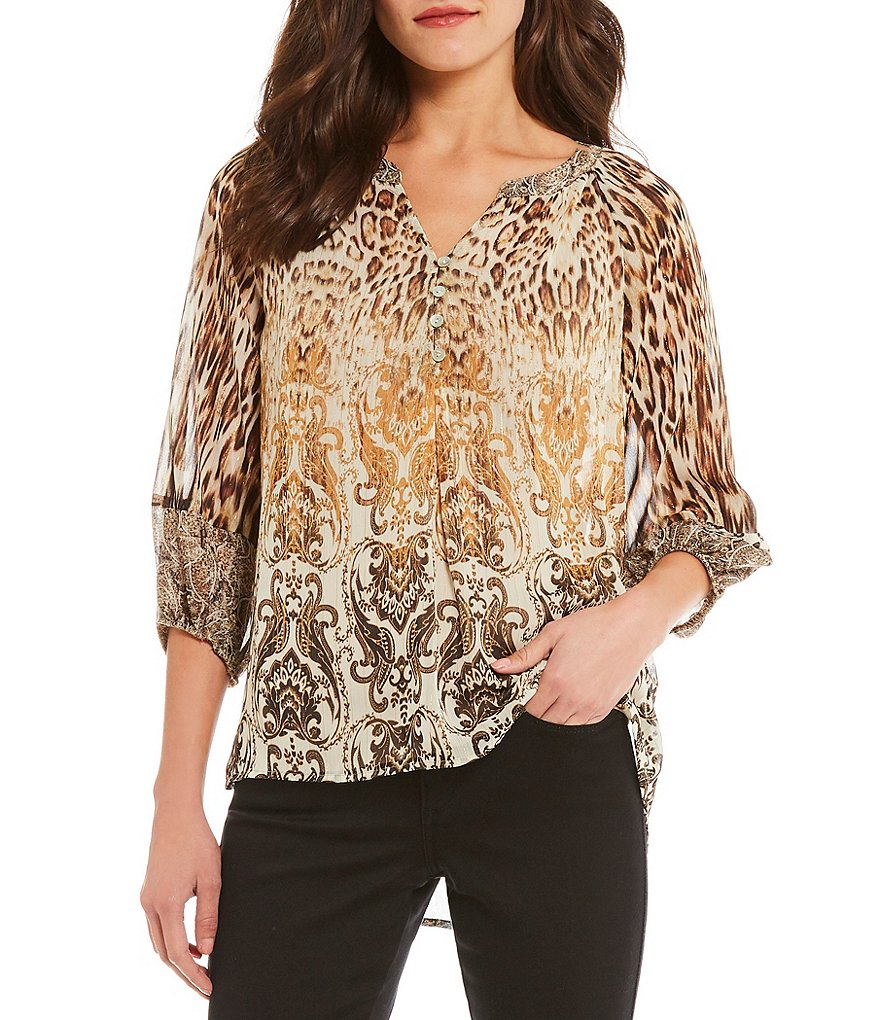 Figueroa & Flower Nina 3/4 Sleeve Mixed Leopard Print Woven Top