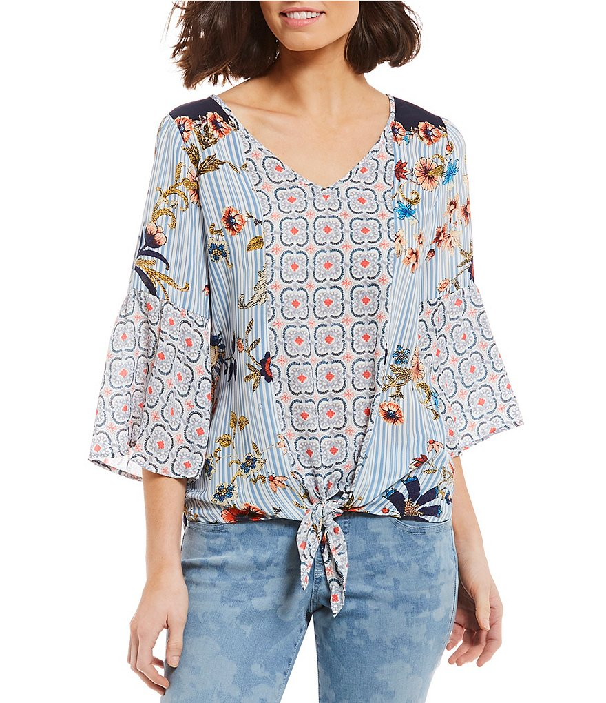 Figueroa & Flower Petites Giselle 3/4 Sleeve Tie-Front Floral Mixed Print Peasant Top