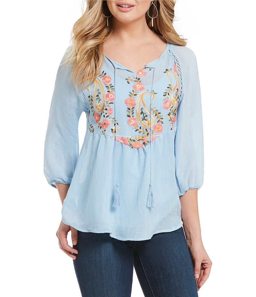 Figueroa & Flower Petites Nadine Tie-Neck Embroidered Peasant Top