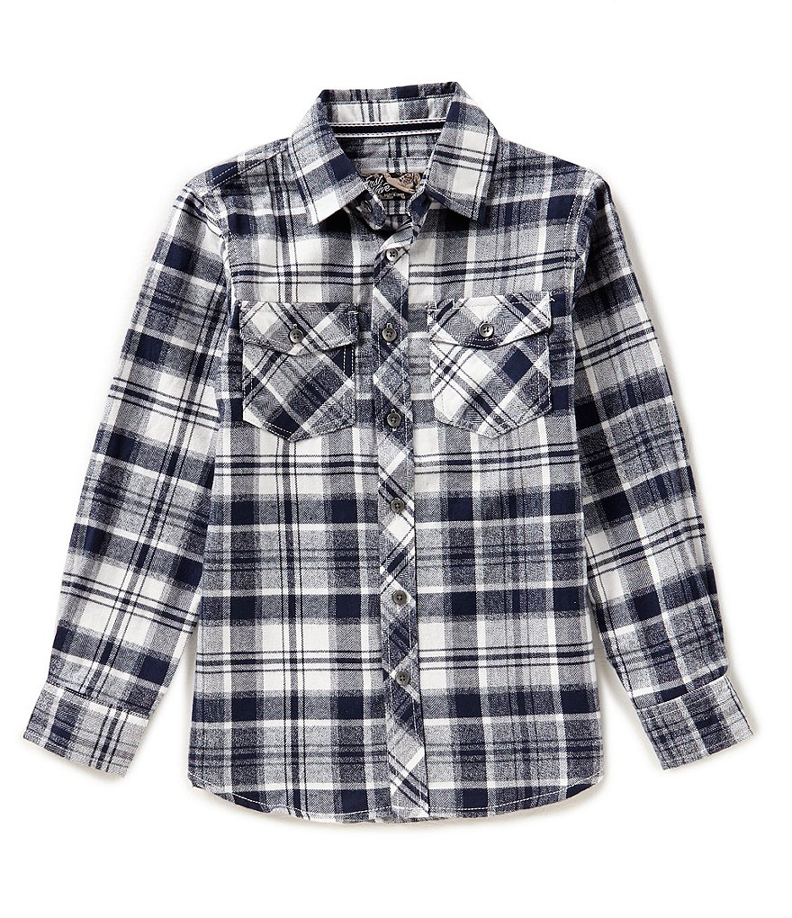 First Wave Big Boys 8-20 Flannel Plaid Button-Down Shirt